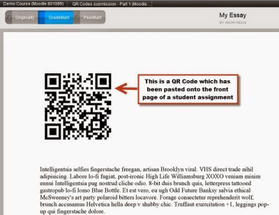 A screenshot of the Turnitin Document Viewer showing an assignment with an embedded QR code